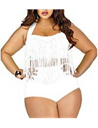Creabygirls Womens Plus Size Two Piece Tassel Swimsuits