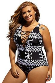 Dearlove Women's Sexy Lace Up V Neck One Piece Swimsuit