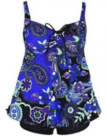 Hilor Women's Plus Size Floral Tankini Two Piece Swimsuit