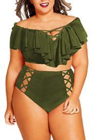 Kisscy Women's Plus Size Ruffles High Waist Bikini Sets Swimsuit
