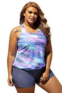 SMUDGE Life Women's Stripes Print Blouson Tankini Set
