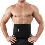 Man in a waist trimmer belt